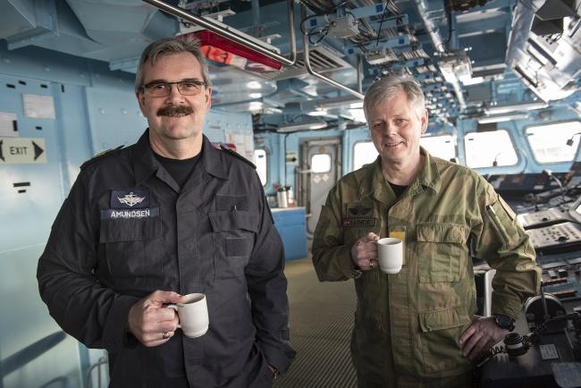 "Commander of the Norwegian Fleet Commodore Henning Amundsen and Head of the Norwegian Joint Headquarters Lieutenant General Morten Haga Lunde on board ""Thor Heyerdahl"" in Kirkenes. (Jonas Karlsbakk/Barents Observer)"