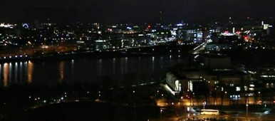 Central Helsinki during Earth Hour on Saturday, 28 March. (Yle)