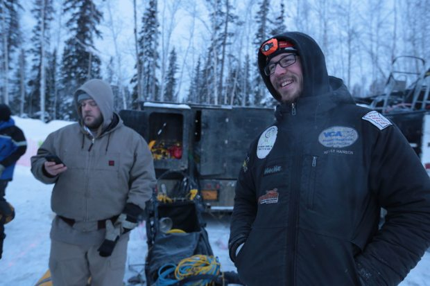 Yukon Quest champion Brent Sass gets ready for the Fairbanks restart of the Iditarod Trail Sled Dog Race on Monday. (Loren Holmes / Alaska Dispatch News)