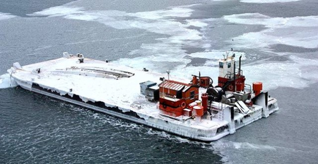 A barge broke its tow in Canada's Arctic earlier this year and drifted as far away as the Russian coast. (US Coast Guard)