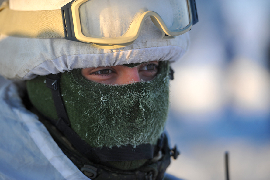 A Russian soldier participates in a military exercise currently underway in Russia's Arctic. (Russia's Military of Defence)