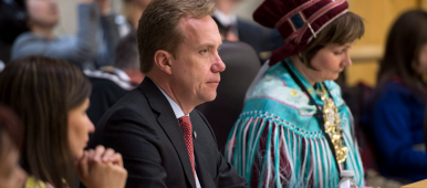 President of the Saami Council, Áile Javo (far left) sits next to Borge Brende, minister of foreign affairs for Norway, during the opening of the Arctic Council Ministerial meeting Friday, April 24, 2015 in Iqaluit, Nunavut. (Paul Chiasson/The Canadian Press)