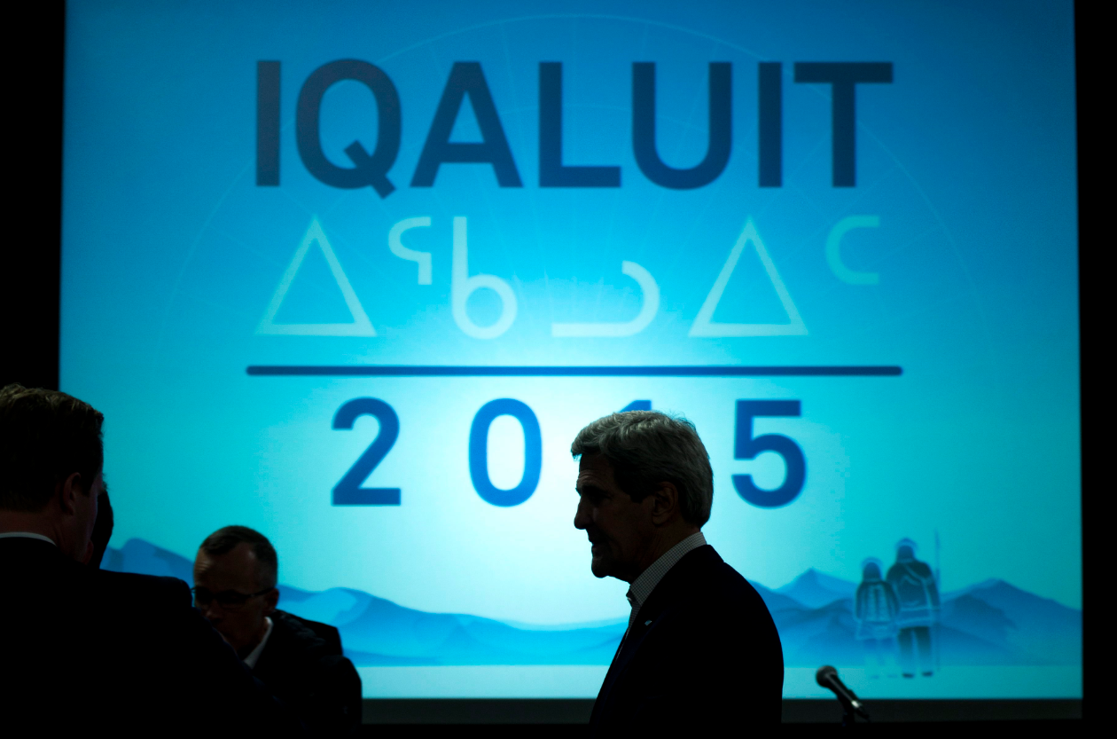 United States Secretary of State John Kerry leaves a news conference at the Arctic Council Ministerial meeting Friday, April 24, 2015 in Iqaluit, Nunavut. Ministers from the eight Arctic nations and the leaders of northern indigenous groups form the Council. (Paul Chiasson/The Canadian Press)