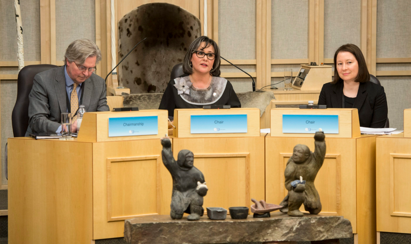 Canadian Minister of the Arctic Council Leona Aglukkaq, centre, speaks during the opening of the Arctic Council Ministerial meeting Friday, April 24, 2015 in Iqaluit, Nunavut. Ministers from the eight Arctic nations and the leaders of northern indigenous groups form the Council. (Paul Chiasson/The Canadian Press)