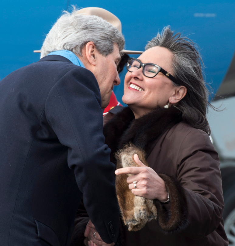 United States Secretary of State John Kerry is greeted by Leona Aglukkaq, Canadian Minister for the Arctic Council, as he arrives Friday, April 24, 2015 in Iqaluit, Nunavut. Ministers from the eight Arctic nations and the leaders of northern indigenous groups attend the Arctic Council Ministerial meeting.(Paul Chiasson/The Canadian Press)