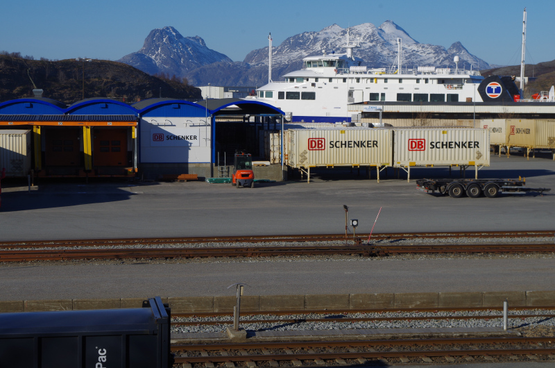 A German freight rail company presence at the rail yard in Bodø Train Station, Norway. (Mia Bennett)