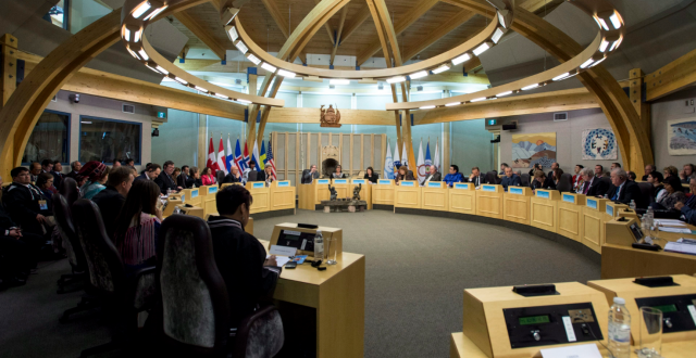 Delegates attend the Arctic Council Ministerial meeting Friday, April 24, 2015 in Iqaluit, Nunavut. Ministers from the eight Arctic nations and the leaders of northern indigenous groups form the Council. (Paul Chiasson/The Canadian Press)