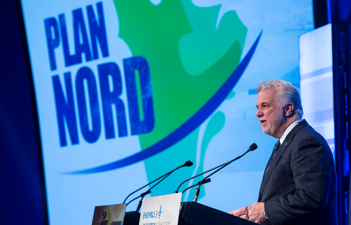 Quebec Premier Philippe Couillard presents Le Plan Nord, his government's plan for the province's northern development on Wednesday, April 8, 2015 in Montreal. (Paul Chiasson/The Canadian Press)