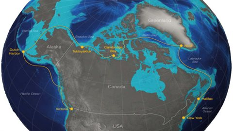 Tracing the path of the proposed extreme sailing race through the northwest passage. (STAR)