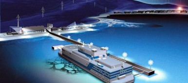 Artist impression of the Akademik Lomonosov floating nuclear power plant, currently being built for the Siberian town of Pevek. (OKBM)