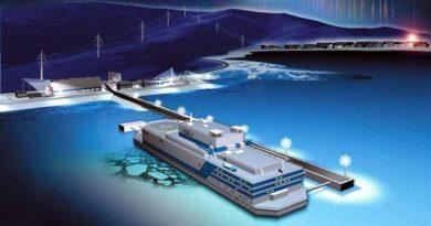 Artist impression of the Akademik Lomonosov floating nuclear power plant, currently being built for the Siberian town of Pevek. (OKBM)