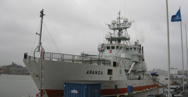 The research vessel Aranda in Gothenburg harbor. (Johan Bergendorff / Sveriges Radio)