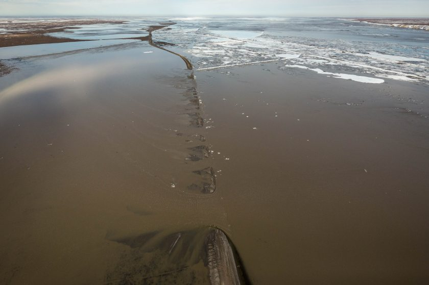 The Dalton Highway was washed out south of Deadhorse on Thursday, May 21, 2015.  (Loren Holmes / Alaska Dispatch News)