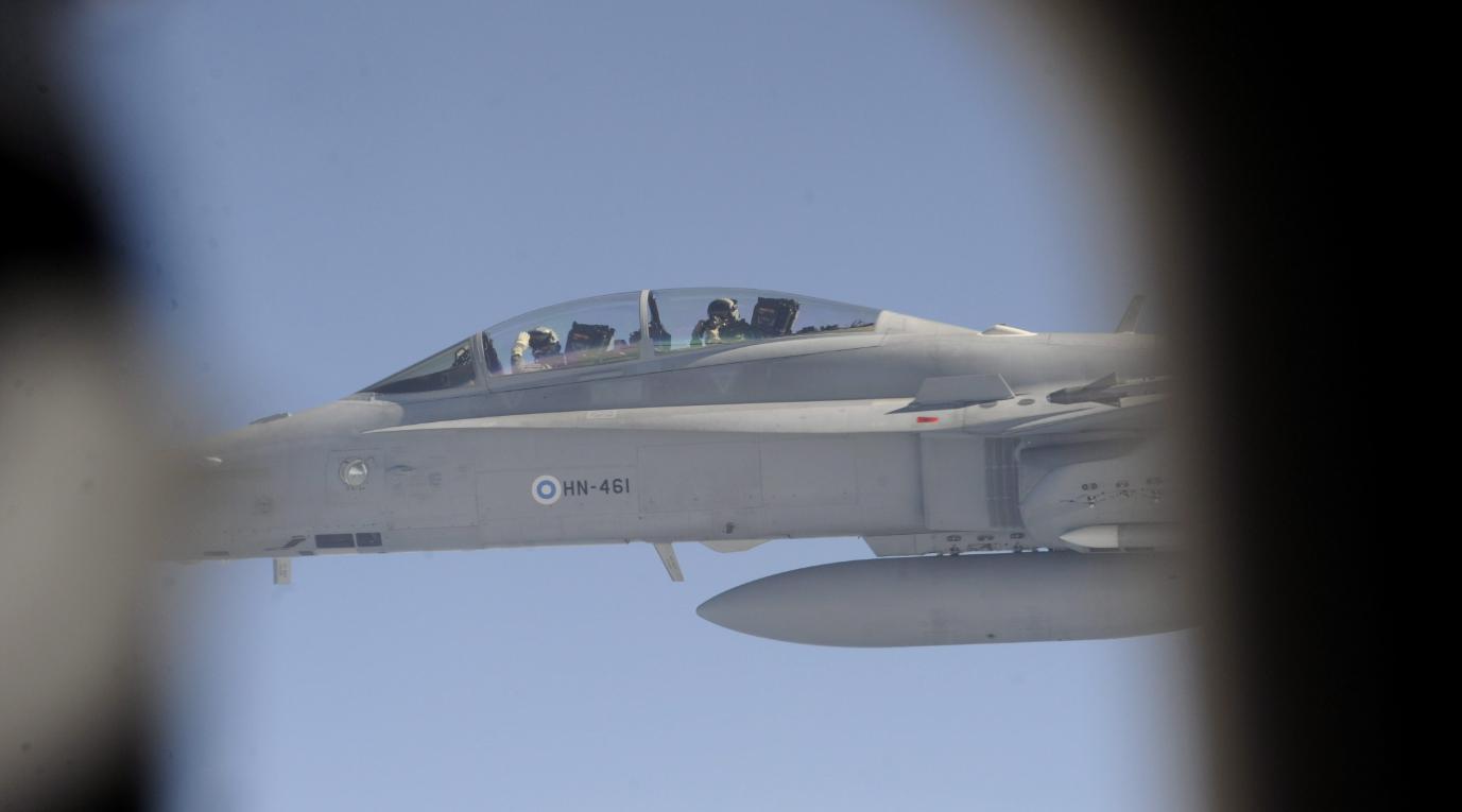 A Finnish Air Force Hornet jet on May 16, 2011. (Heikki Saukkomaa/AFP/Getty Images)