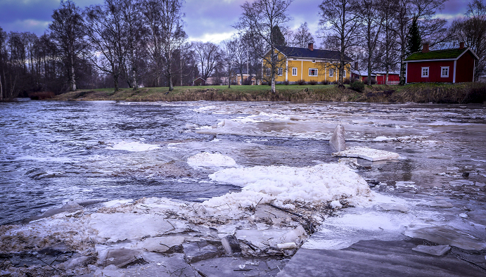 Ice sheets float on the Kruunupyy river in Kruunupyy, northwestern Finland, where heavy rainfalls caused floodings, on December 26, 2013.  (Trond H. Trosdahl/AFP/Getty Images)