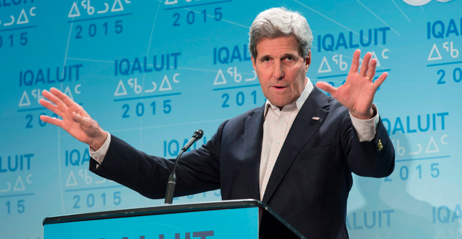 United States Secretary of State John Kerry responds to a question during a news conference at the Arctic Council Ministerial meeting Friday, April 24, 2015 in Iqaluit, Nunavut. (Paul Chiasson/The Canadian Press)