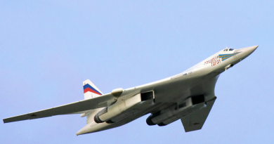 A Russian Tupolev-160 strategic bomber jet near the city of Murmansk, in Arctic Russia, in 2005. (Alexey Panov /AFP/Getty Images)