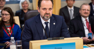 Russian Minister of Natural Resources and Environment Sergei Donskoi listens to proceedings during the opening of the Arctic Council Ministerial meeting Friday, April 24, 2015 in Iqaluit, Nunavut. (Paul Chiasson/The Canadian Press)
