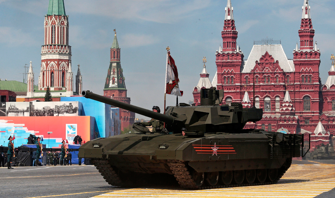 New Russian Armata tank is driven during the Victory Parade marking the 70th anniversary of the defeat of the Nazis in World War II, in Red Square, Moscow, Russia, Saturday, May 9, 2015. (Ivan Sekretarev/AP)