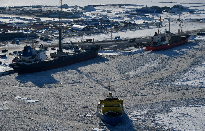 A picture taken on April 16, 2015 shows a general view of the port of Sabetta in the Kara Sea shore line on the Yamal Peninsula in the Arctic circle, some 2450 km of Moscow. The Yamal LNG (liquefied natural gas) project aiming to extract and liquefy gas from the Yuzhno-Tambeyskoye gas field is scheduled to start production in 2017. Russia's Novatek holds a 60 percent stake in the venture. France's Total and China's CNPC hold 20 percent each. (Kirill Kudryavtsev/AFP/Getty Images)