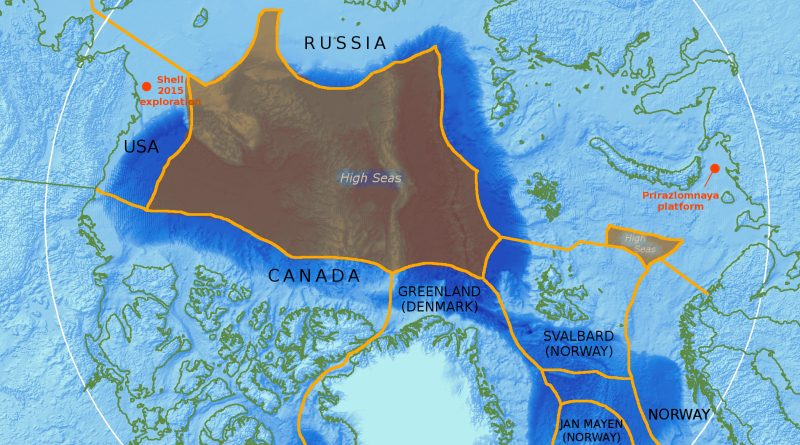 The Donut Hole (and two other small ones to the south) at the center of the Arctic Ocean. (Cryopolitics)
