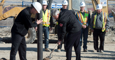 Canadian Prime Minister Stephen Harper shovels dirt during a ground breaking ceremony for the Canadian High Arctic Research Station on August 23, 2014 in Cambridge Bay, Nunavut. The new Polar Knowledge Canada organization will be housed here when the station opens in 2017.(Adrian Wyld/The Canadian Press)