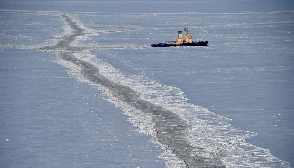 An icebreaker in the Kara Sea in April 2015. Stories concerning drilling and shipping were among you're most read Eye on the Arctic stories this week. (Kirill Kudryavtsev/AFP/Getty)