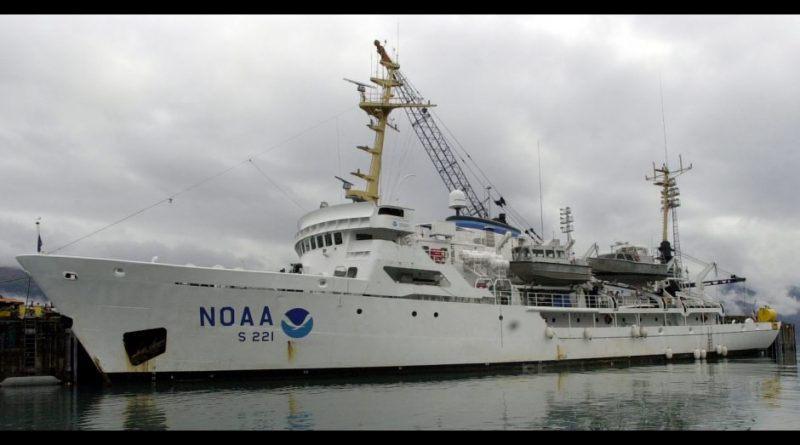 The NOAA ship Rainier in Seward in 2001 for a Resurrection Bay mapping project Wednesday. (Erik Hill / Alaska Dispatch News)