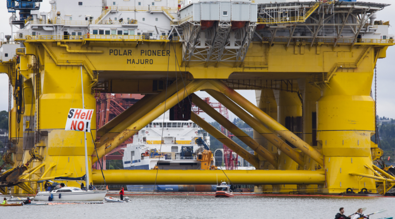 The Polar Pioneer oil drilling rig during demonstrations against Royal Dutch Shell on May 16, 2015 in Seattle, Washington. (David Ryder/Getty Images)