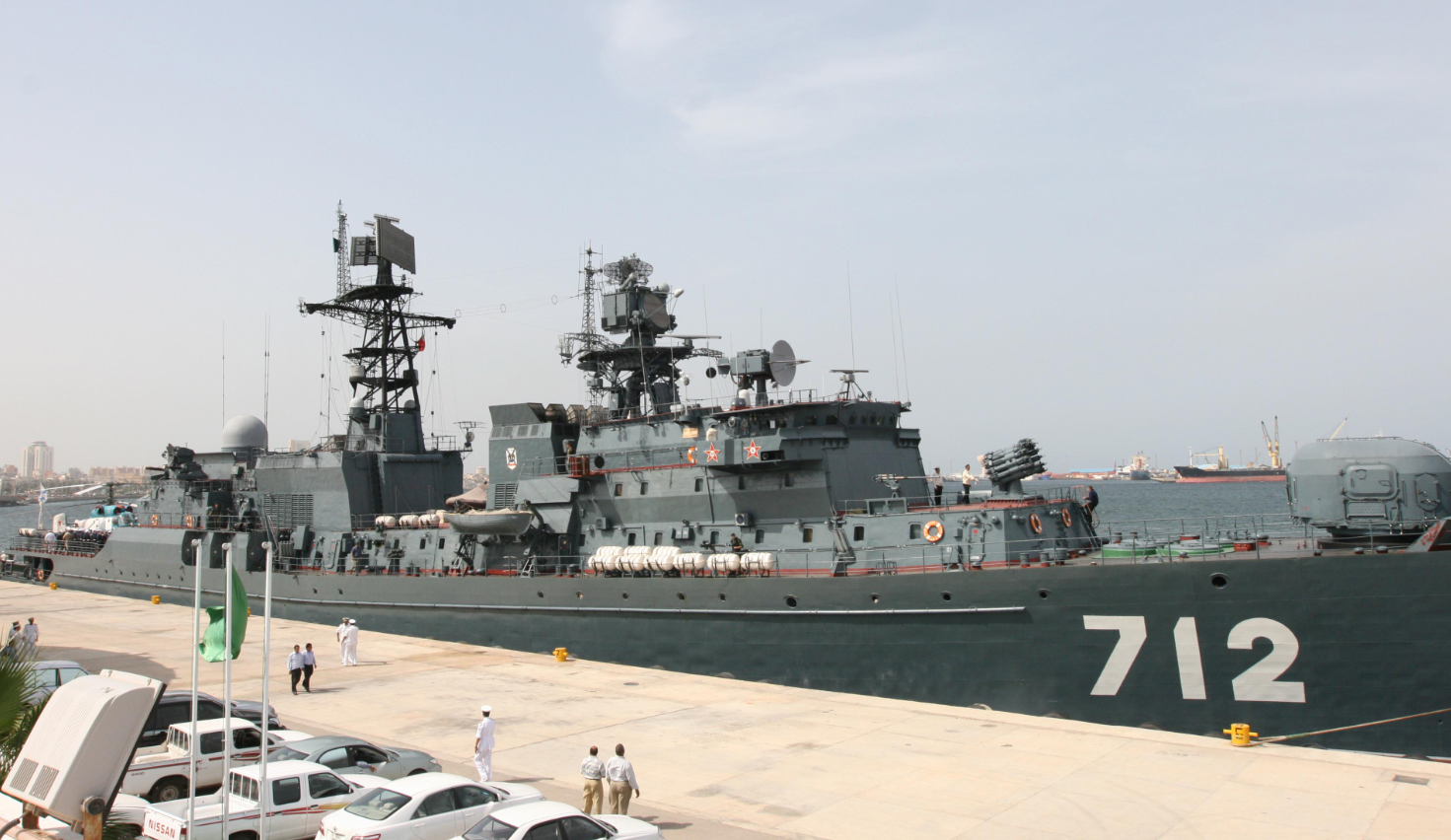 A warship from Russia's Northern Fleet docked in the Libyan port of Tripoli in 2008. (Mahmud Turkia/AFP/Getty Images)