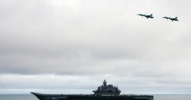 Russian aircraft-carrier Admiral Kuzhetsov is seen during a military exercise involving the North Fleet in 2005. (Alexey Panov/AFP/Getty Images)