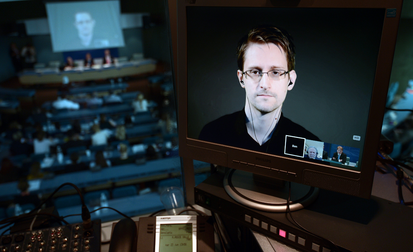 NSA former intelligence contractor Edward Snowden via video link from Russia at a parliamentary hearing on 'Improving the protection of whistleblowers', on June 23, 2015, at the Council of Europe in Strasbourg. Snowden, who has been granted asylum in Russia, is being sought by Washington which has branded him a hacker and a traitor who endangered lives by revealing the extent of the NSA spying program. (Frederick Florin/AFP/Getty Images)
