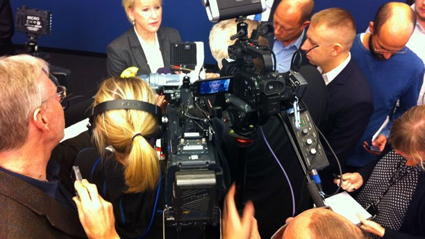 Sweden's Foreign Minister, Margot Wallström, of the Social Democrats, speaking at an earlier press conference. (Brett Ascarelli / Radio Sweden)
