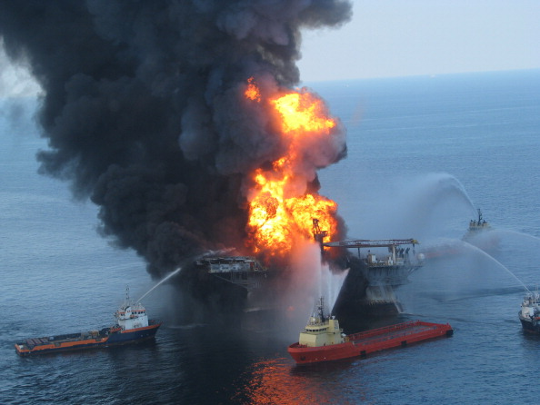 The Deepwater Horizon oil rig burns in the Gulf of Mexico in April 2010. (Getty)
