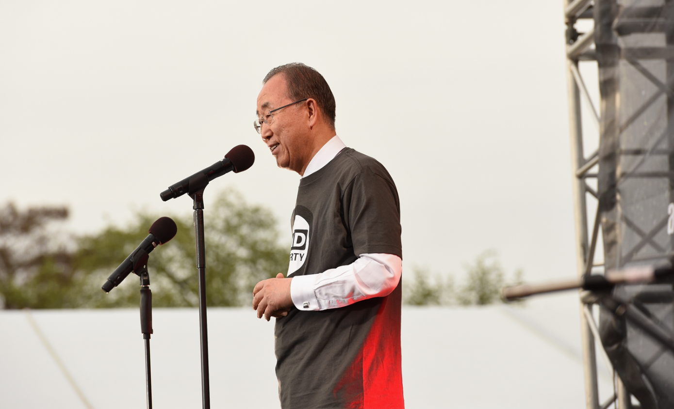 UN Secretary General Ban Ki-Moon onstage during Global Citizen 2015 Earth Day on April 18  in Washington, DC. (Noam Galai/Getty Images for Global Citizen)