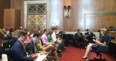 Alaska Senator Lisa Murkowski speaks to reporters in the Energy and Natural Resources Committee hearing room July 23, 2015. (Erica Martinson/ Alaska Dispatch News)