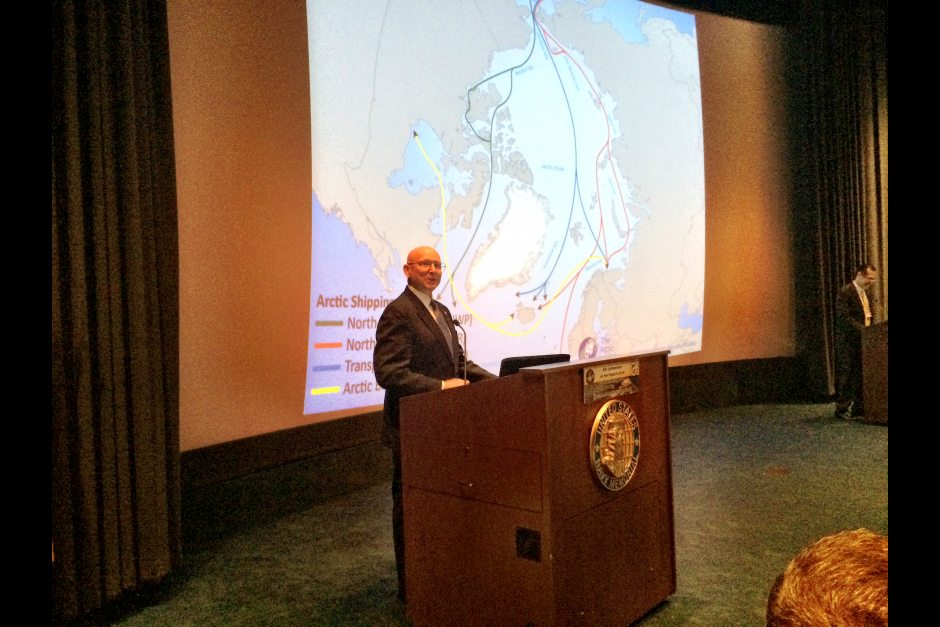 Admiral Robert Papp Jr. of the Coast Guard (ret.), special representative for the U.S. Arctic at the State Department, speaks at an Arctic symposium in Washington, D.C., July 14, 2015. (Erica Martinson / Alaska Dispatch News)