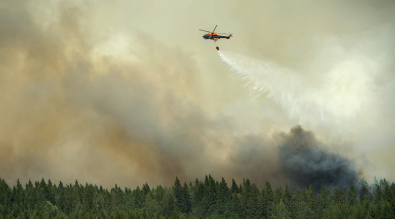 A helicopter drops a load of water on the wildfire front just outside the evacuated village of Gammelby near Sala, Central Sweden, on August 4, 2014. The fire was classified as the worst forest fire in Sweden's modern history. (Fredrick Sandberg/AFP/Getty Images)