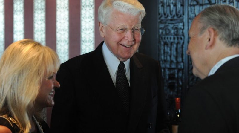 """President Ólafur Ragnar Grímsson of Iceland meets with first lady Donna Walker and Gov. Bill Walker during a reception for """"The Alaskan Arctic: A Summit on Shipping and Ports"""" in the Quarter Deck at the Hotel Captain Cook on Sunday, Aug. 23, 2015. (Bill Roth / Alaska Dispatch News)"""