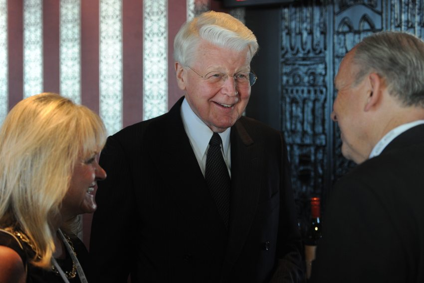 "President Ólafur Ragnar Grímsson of Iceland meets with first lady Donna Walker and Gov. Bill Walker during a reception for ""The Alaskan Arctic: A Summit on Shipping and Ports"" in the Quarter Deck at the Hotel Captain Cook on Sunday, Aug. 23, 2015. (Bill Roth / Alaska Dispatch News)"