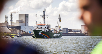 Greenpeace's ice breaker 'Arctic Sunrise' enters its homeport in Amsterdam, The Netherlands, on August 9, 2014, after returning from Murmansk, almost a year after it was seized by Russia during a protest against Arctic oil drilling. (Remko de Waal/AFP/Getty Images)