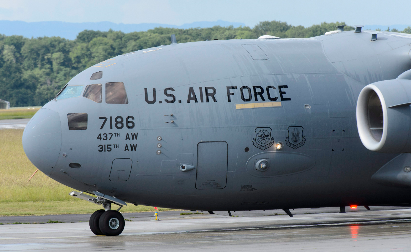 A U.S. military C-17 aircraft taxis at Geneva airport at Geneva Airport, Switzerland, Monday, June 1, 2015. (Jean-Christophe Bott/Keystone via AP)
