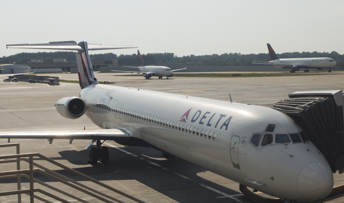 Delta Air Lines serves Anchorage, Juneau and Fairbanks and says it is reviewing its policies on transporting hunting trophies.  (Andrew Caballero-Reynolds/AFP/Getty Images)