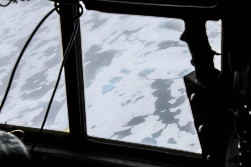This was a view of the ice in the sea north of Deadhorse from the cockpit of a U.S. Coast Guard Arctic Domain Awareness flight out of Kodiak on Tuesday, July 14, 2015. (Kamala Kelkar / Alaska Dispatch News)