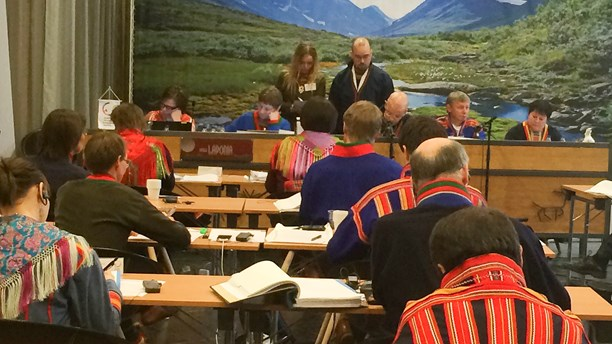 A meeting of the Sami parliament in Arvidsjaur. (Jenny Israelsson Skoglund/ Sameradion & SVT Sápmi)