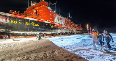 The nuclear-powered icebreaker 50 Let Pobedy (50 Years of Victory) at the North Pole in 2013. Here, it brought the Olympic Flame to the North Pole for the first time during the torch relay for the 2014 Sochi Winter Games. (Sergei Dolya/AP)