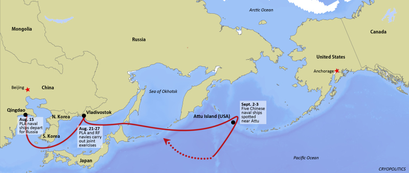 Arctic expert Mia Bennett looks at the recent presence of Chinese naval ships near the Aleutian islands and what it tells us about the history of Asian presence in the North Pacific. (Cryopolitics)