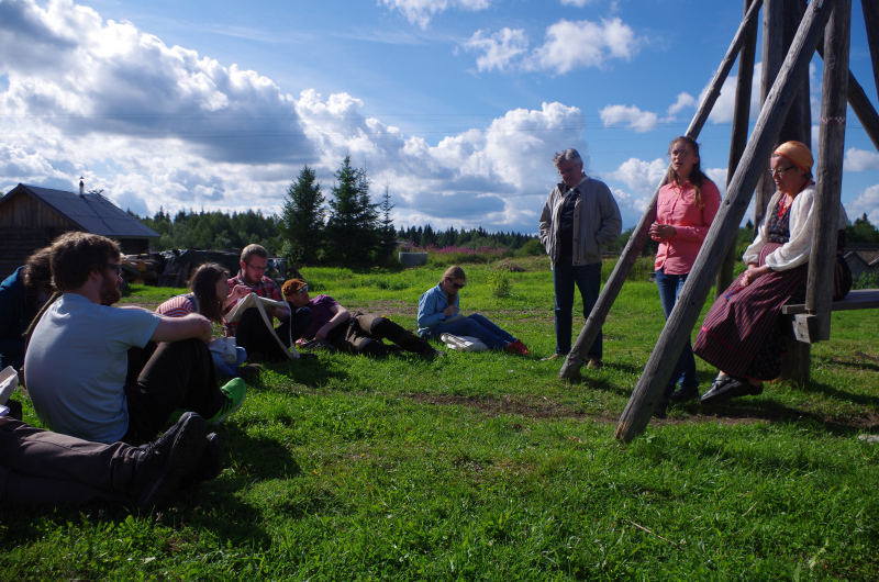 Learning about the history of Kinerma, a traditional Karelian village. (Mia Bennett)