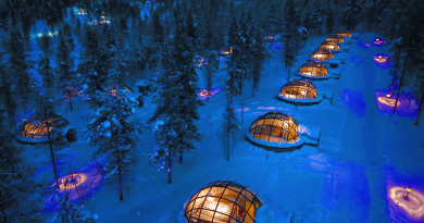 Glass igloos at the Kakslauttanen Arctic Resort in Finland. (Courtesy Kakslauttanen Arctic Resort)