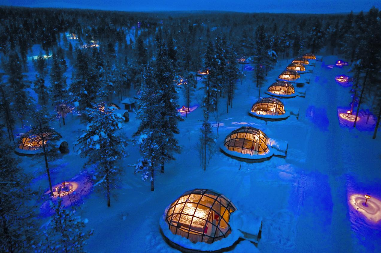 Glass igloos at the Kakslauttanen Arctic Resort in Finland. (Courtesy Kakslauttanen Arctic Resort)